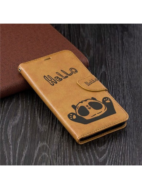 Cute Cartoon Panda Leather Folio Case For iPhone XR