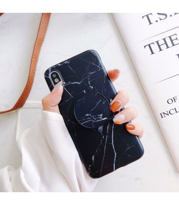 Black Marble iPhone Case With Finger Grip