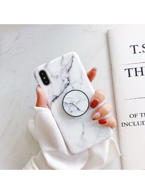 White Marble iPhone Case With Finger Grip
