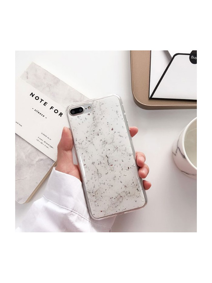 Silver Flakes White Marble iPhone Case