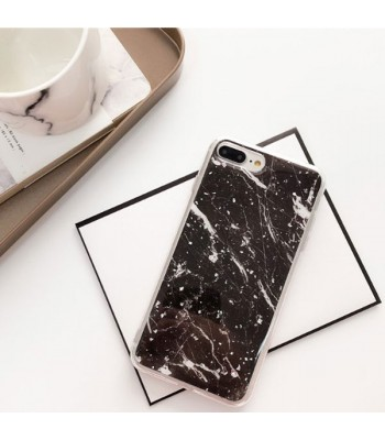 Silver Flakes Black Marble iPhone Case