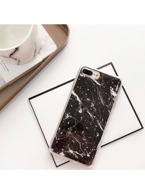 size 40 4f966 a517e Silver Flakes Black Marble iPhone Case