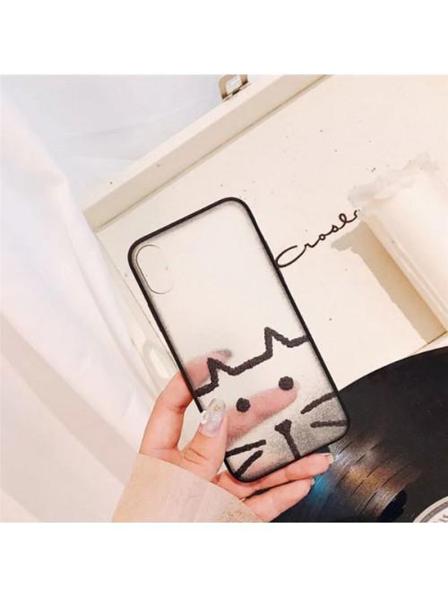 Clear Matte Cartoon iPhone Case - Kitten