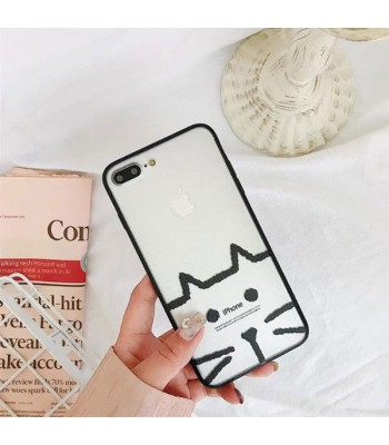 Clear Matte Cartoon iPhone Case - Kitten