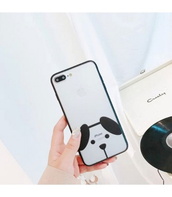 Clear Matte Cartoon iPhone Case - Puppy