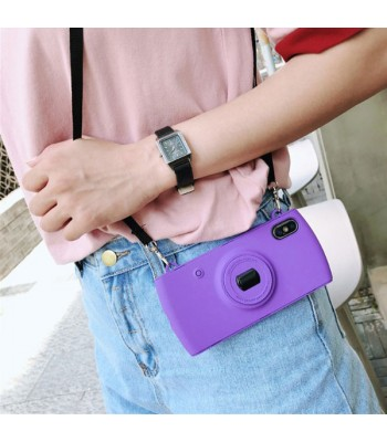 Camera iPhone Case With Lanyard - Purple