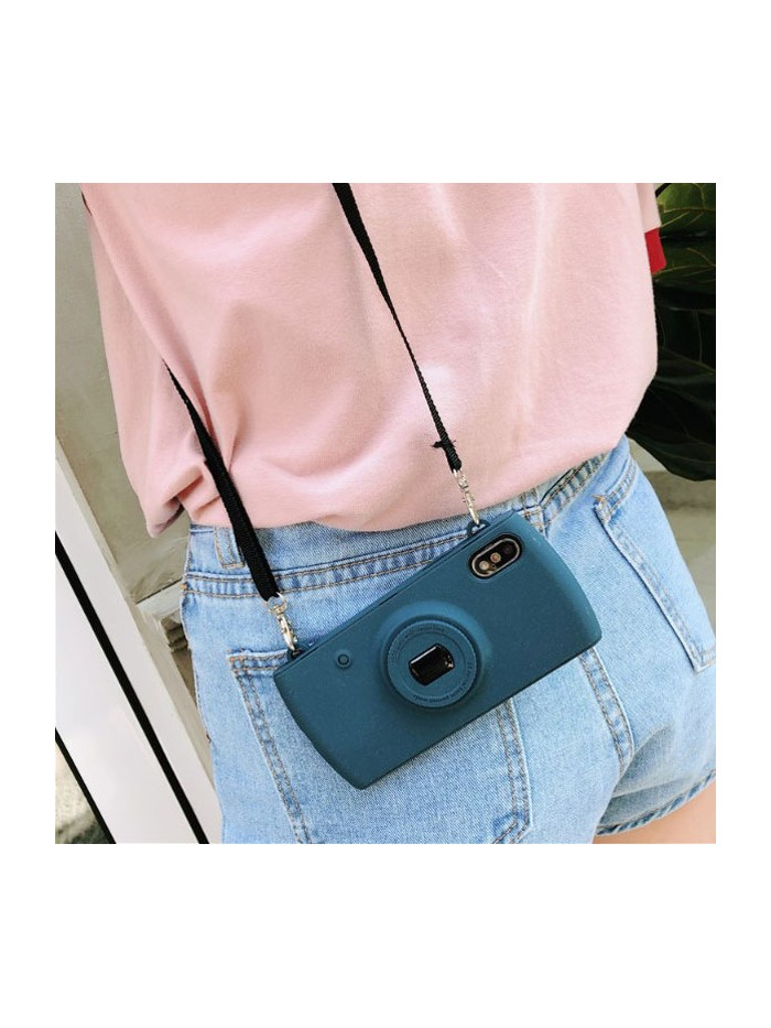 Camera iPhone Case With Lanyard - Blue