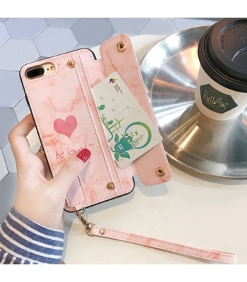 Heart Wallet iPhone Case With Card Holder and Strap