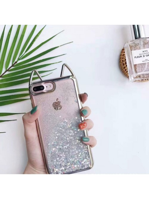 Cat Ear Glitter Quicksand iPhone Case - Sparkly Silver