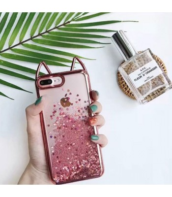 Cat Ear Glitter Quicksand iPhone Case - Sparkly Pink