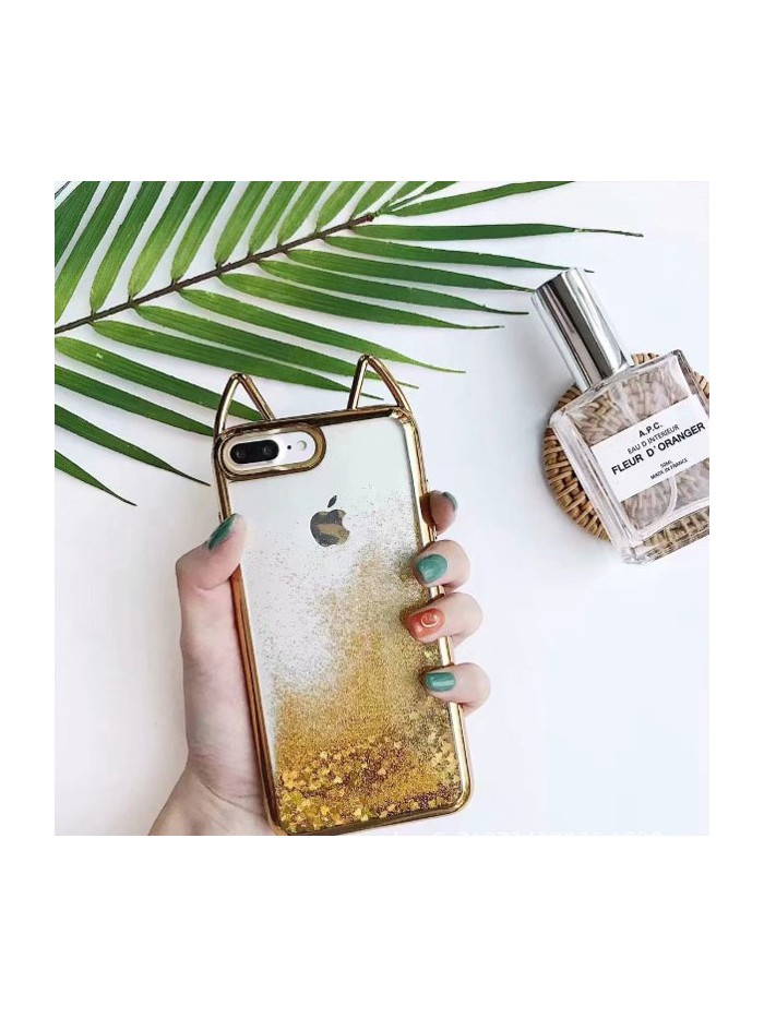 Cat Ear Glitter Quicksand iPhone Case - Sparkly Gold
