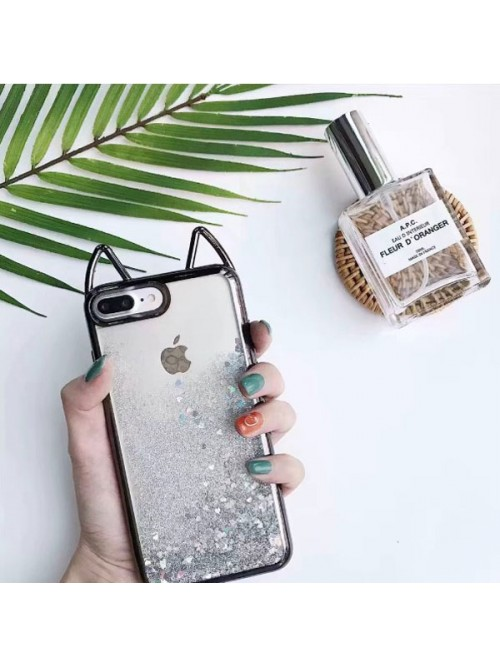 Cat Ear Glitter Quicksand iPhone Case - Sparkly Grey