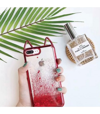 Cat Ear Glitter Quicksand iPhone Case - Sparkly Red