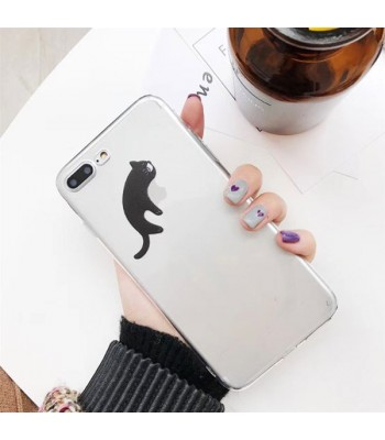 Clear Cartoon Cat iPhone Case