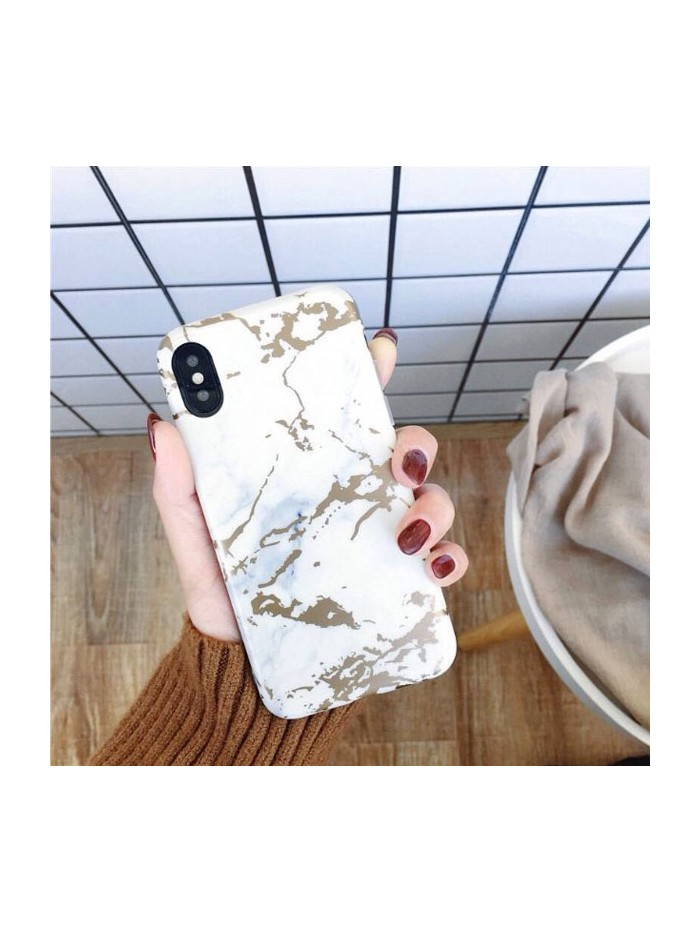White Bronzing Marble iPhone Case