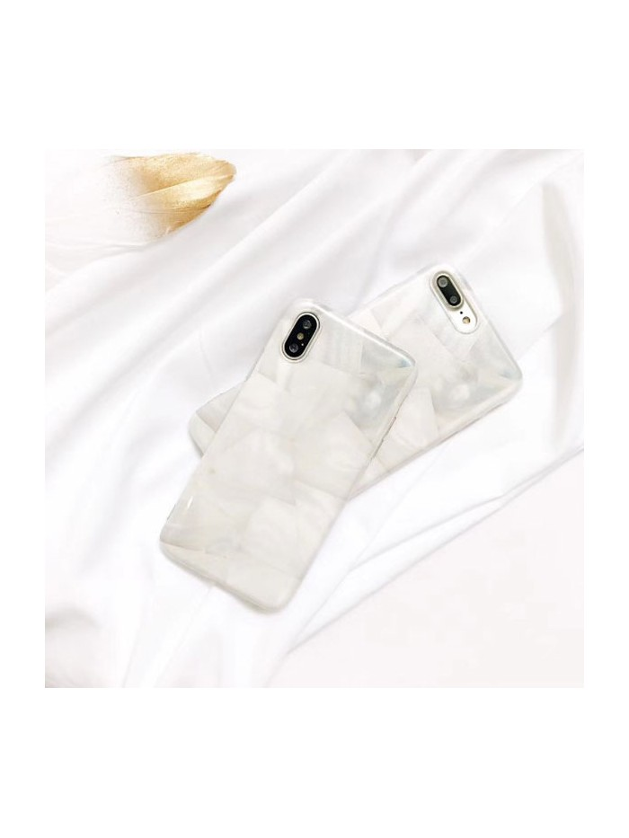 White Marble Conch Shell Effect iPhone Case