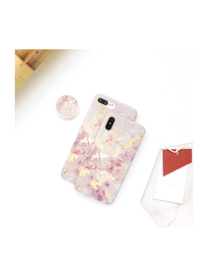 Bronzing Pink Marble iPhone Case With Finger Grip
