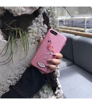 Glitter Embroidered Flamingo iPhone Case