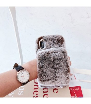 Brown Girly Fluffy Furry iPhone Case With Strap