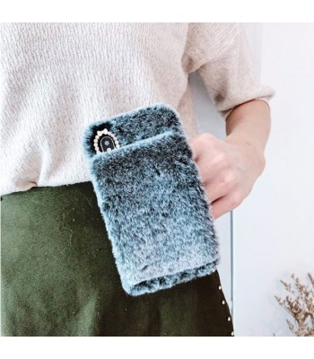 Grey Girly Fluffy Furry iPhone Case With Strap