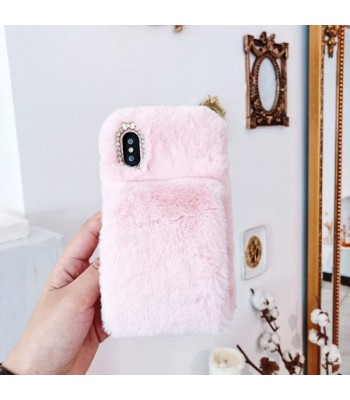 Pink Girly Fluffy Furry iPhone Case With Strap
