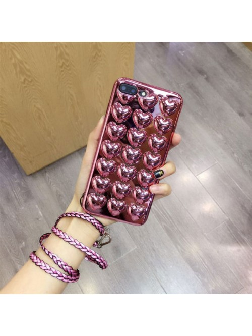 Rose Gold 3D Hearts iPhone Case With Lanyard