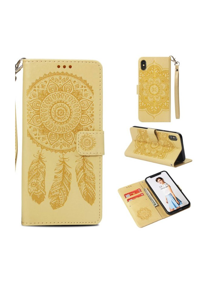 iPhone XR Embossed Windbell Leather Folio Case