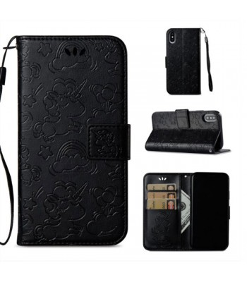 Cartoon Embossed Folio iPhone Case With Card Holder