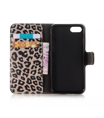 iPhone 7 Leopard Leather Wallet Flip Case