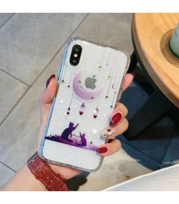 Diamond iPhone Case - The Cats And Moon
