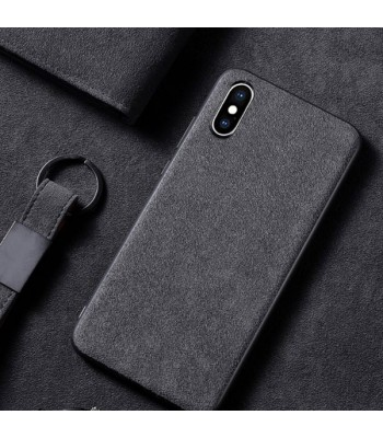 Minimalist Suede Leather iPhone Case - Pure Grey