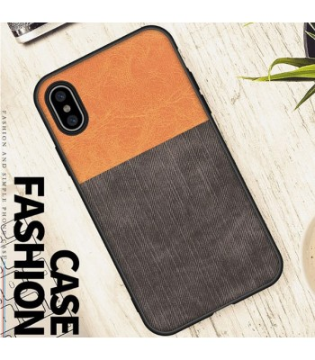 Linen Cloth iPhone Case - Color Block Brown And Black