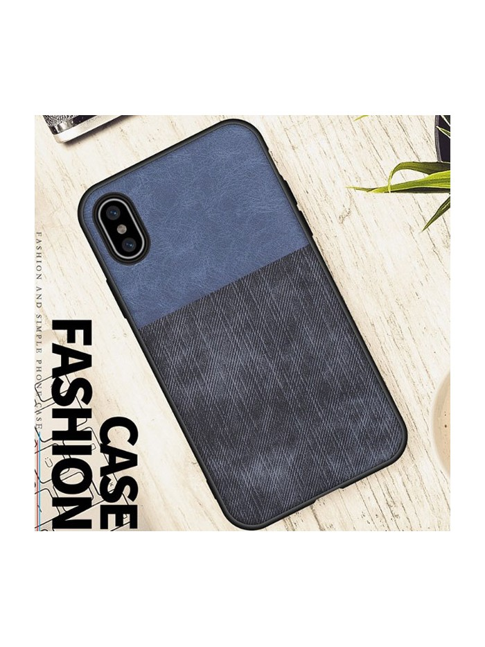 Linen Cloth iPhone Case - Color Block Blue And Black