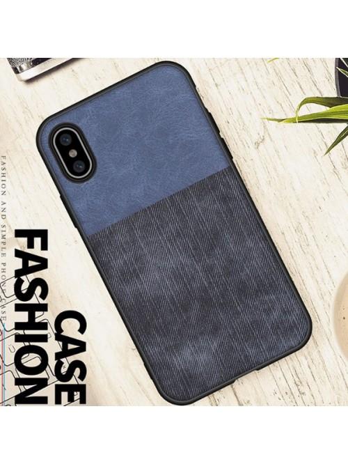 Linen Cloth iPhone Case - Color Block Blue And Black