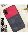 Linen Cloth iPhone Case - Color Block Red And Black