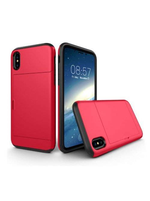 iPhone Xs Shockproof Case With Sideslip Hidden Card Slot