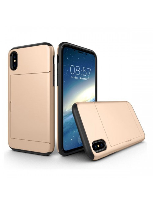 iPhone Xs Max Shockproof Case With Sideslip Hidden Card Slot