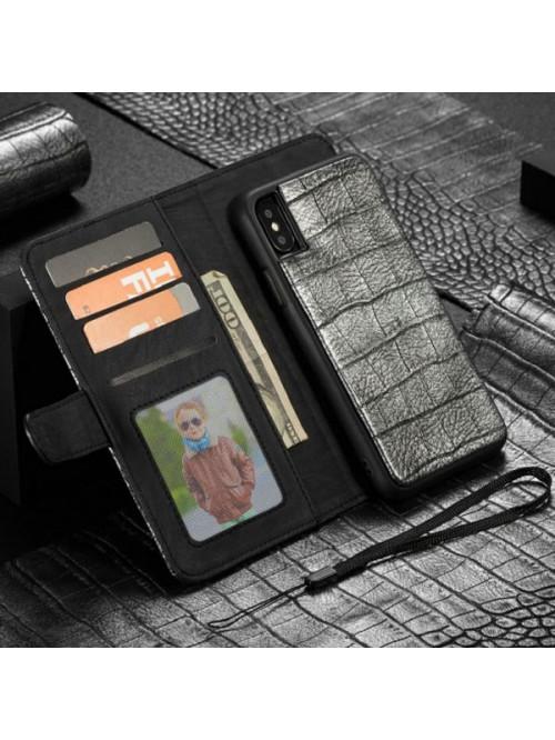 iPhone Xs/X Crocodile Leather Detachable Folio Case With Card Holder