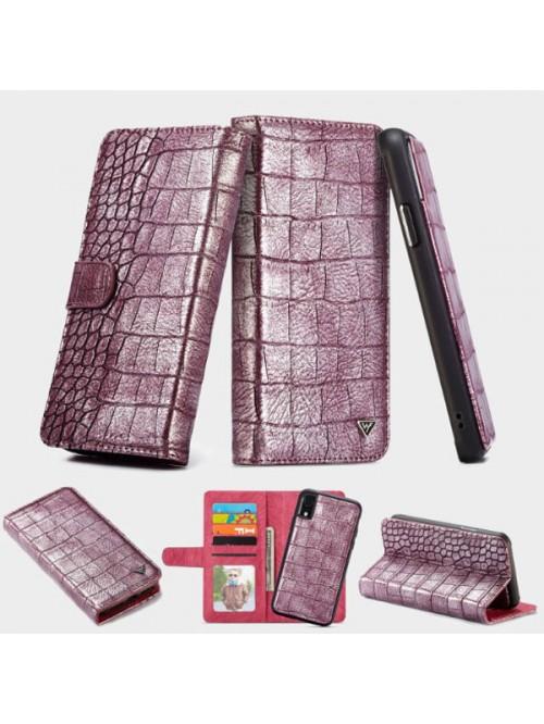 iPhone Xs Crocodile Leather Folio Case With Card Holder