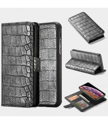 iPhone Xs Max Crocodile Leather Folio Case With Card Holder