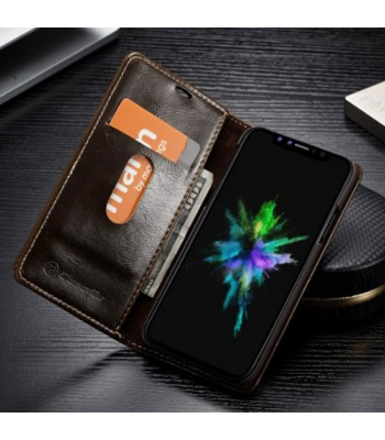 iPhone Xs Max Crazy Horse Leather Folio Card Case