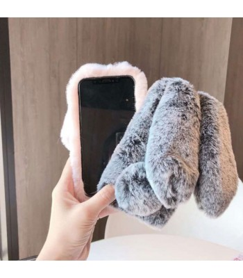 iPhone Xs Fluffy Fur Bunny Case