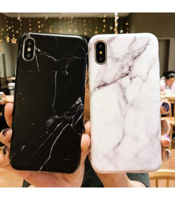 iPhone Xs Black/White Marble Protective Case
