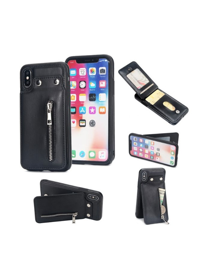 iPhone Xs leather Back Cover With Card Slots
