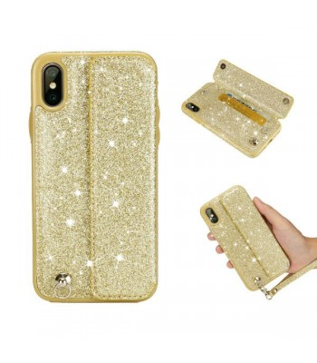 iPhone Xs Glitter Card Case With Strap