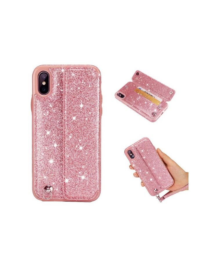 iPhone Xs Max Glitter Card Case With Strap