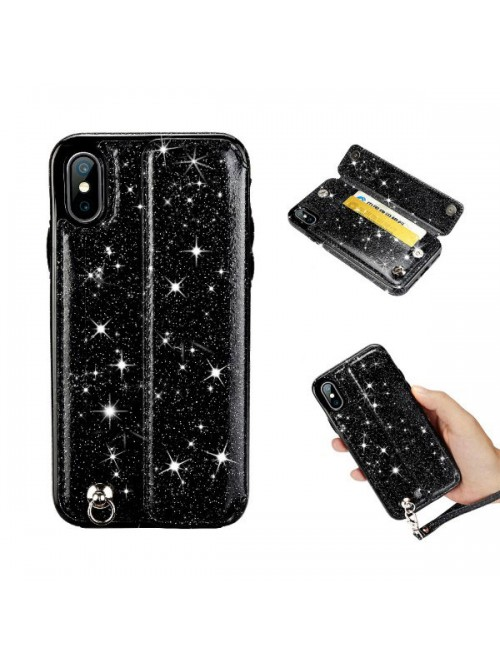 iPhone XR Glitter Card Case With Strap