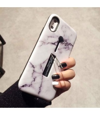 iPhone X Marble Case With Kickstand & Finger Strap