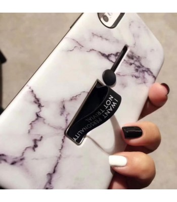 iPhone Xs Max Marble Case With Kickstand & Finger Strap