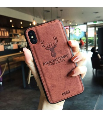 iPhone Xs Cloth Texture Case - Deer